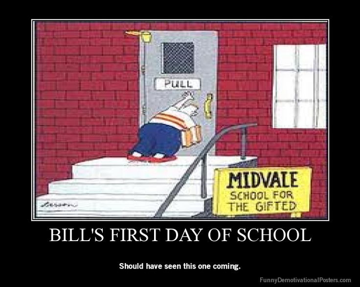 Bill's first day of school.