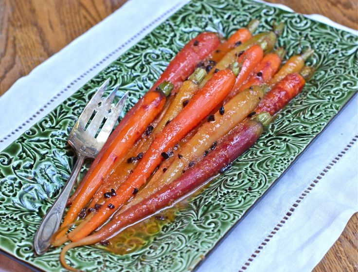 Tangerine Ginger Glazed Carrots with Cocoa Nibs