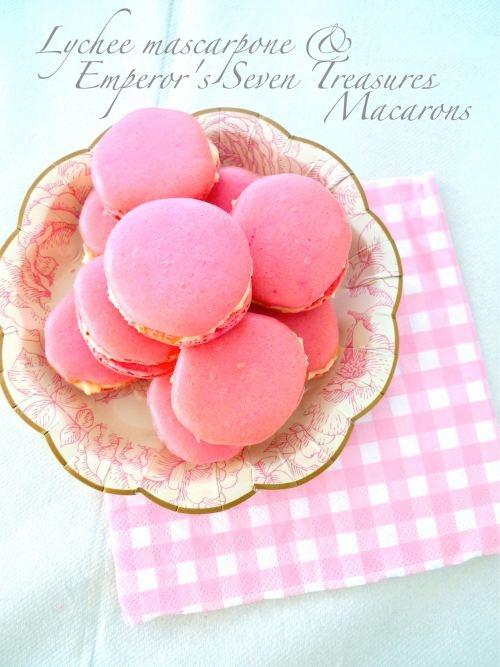 Lychee Mascarpone & Emperor's Seven Treasures Macarons
