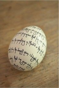 A clever way to share a special Easter message: A hand written note on an egg.  Yeah.  Good luck with that.
