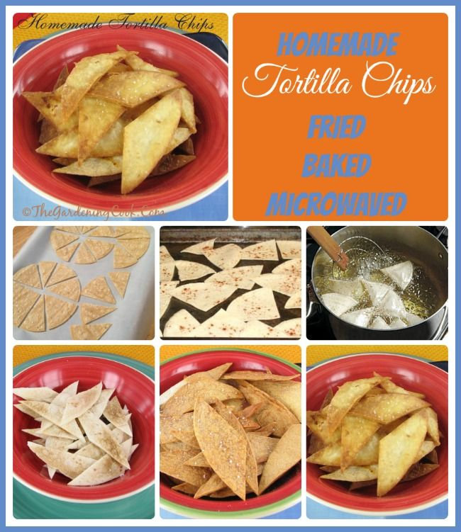 DIY Homemade Tortilla chips three ways - Fried, baked and Microwaved