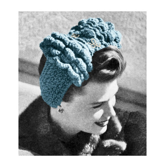 Knitting Pattern For Head Scarf : Vintage Knitting Pattern 1940s Ruffled Head Scarf Turban Headband Dig?