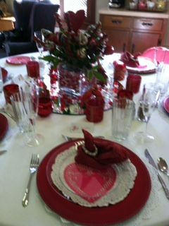 Our church valentine party tablescapes we had a great meal and lots