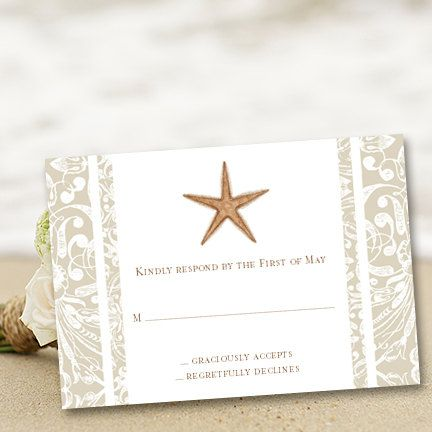 "... Destination ""Beach Starfish"" Printable RSVP Template 