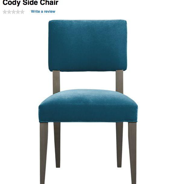 Cody peacock blue chair, C&B  Kitchen / Dining room  Pinterest