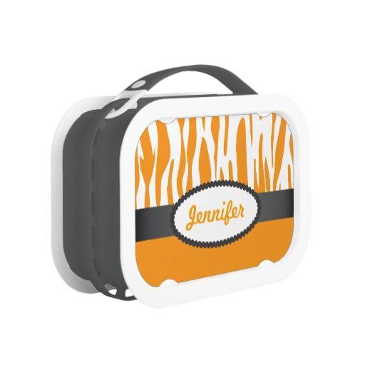 Custom Orange Zebra Stripes Print Yubo Lunch Box - As seen on Shark    Orange Zebra Print Pattern