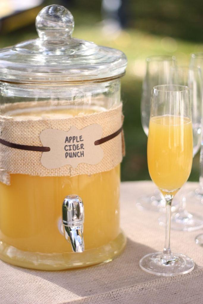 Apple Cider Punch (recipe from BHG)    Ingredients  6 cups apple cider  2 cups orange juice, cranberry-raspberry juice, or orange-mango juice (I used orange juice)  1/2 cup lemon juice  1 750-ml bottle sparkling white grape juice or sparkling wine    Directions  1. In punch bowl, large pitcher, or pitchers combine apple cider, orange juice, and lemon juice. Slowly add sparkling white grape juice or sparkling wine. Serve immediately.