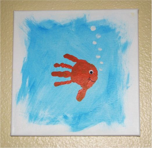 How to Make Handprint {and Footprint} Canvas Art… perfect rainy day activity for the nephew...