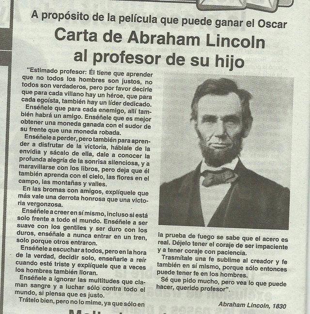 """""""Más vale una derrota honrosa que una victoria vergonzosa"""" - carta que Abraham Lincoln le escribió al profesor de su hijo en 1830."""