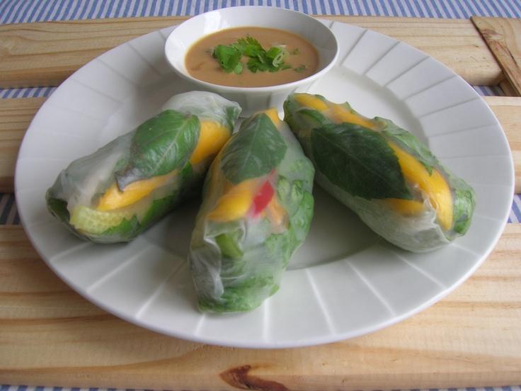 Salad rolls with marinated ginger tofu, romaine lettuce, napa cabbage ...
