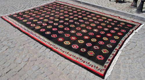 "Antique Turkish Kilim 101"" x 134"" Hand Woven Wool Kars Oriental Rug ..."