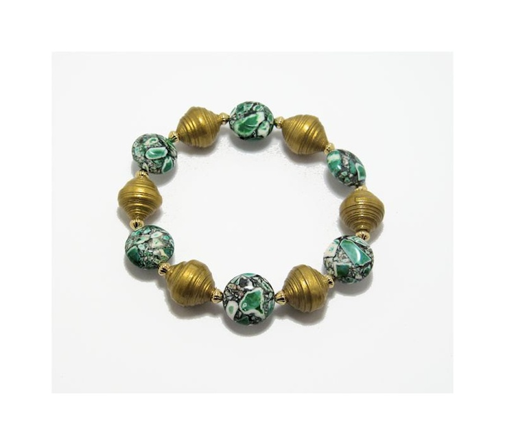 handmade paper bead bracelet gold paper beads green pattern stone. Black Bedroom Furniture Sets. Home Design Ideas