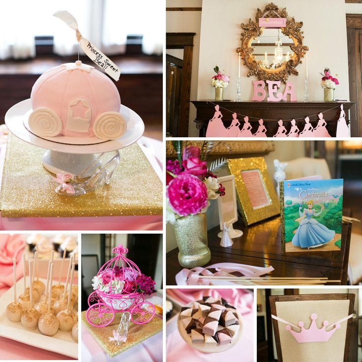 pink and gold cinderella inspired princess themed baby shower