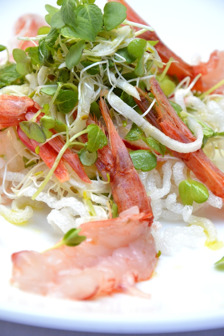 Shrimp Tails with Watercress and Radish Salad raw shrimp tails with ...