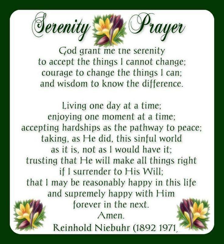 Printable Serenity Prayer Long Version Images