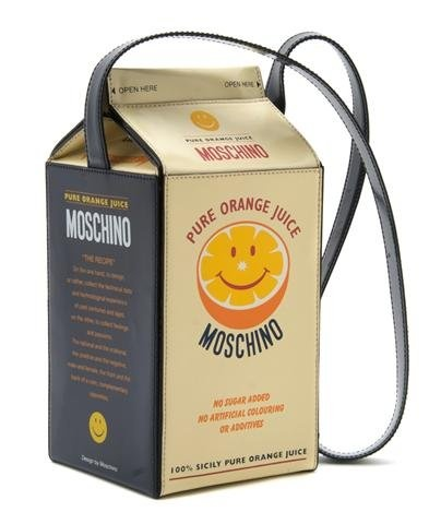Moschino 'Orange Juice Carton' Bag, with a long blue leather ...