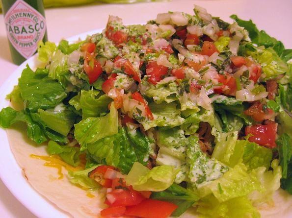 Cafe Rio Pork Barbacoa Salad with Tomatillo Dressing   heidikins cooks