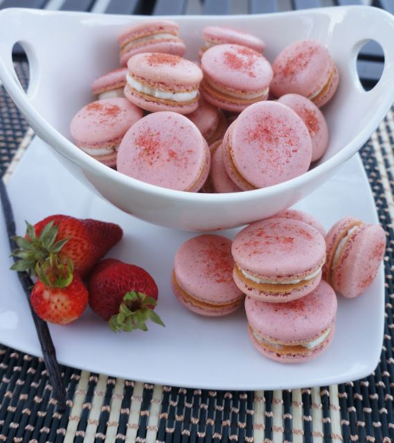 ... Strawberry macarons with vanilla bean buttercream (freeze-dried