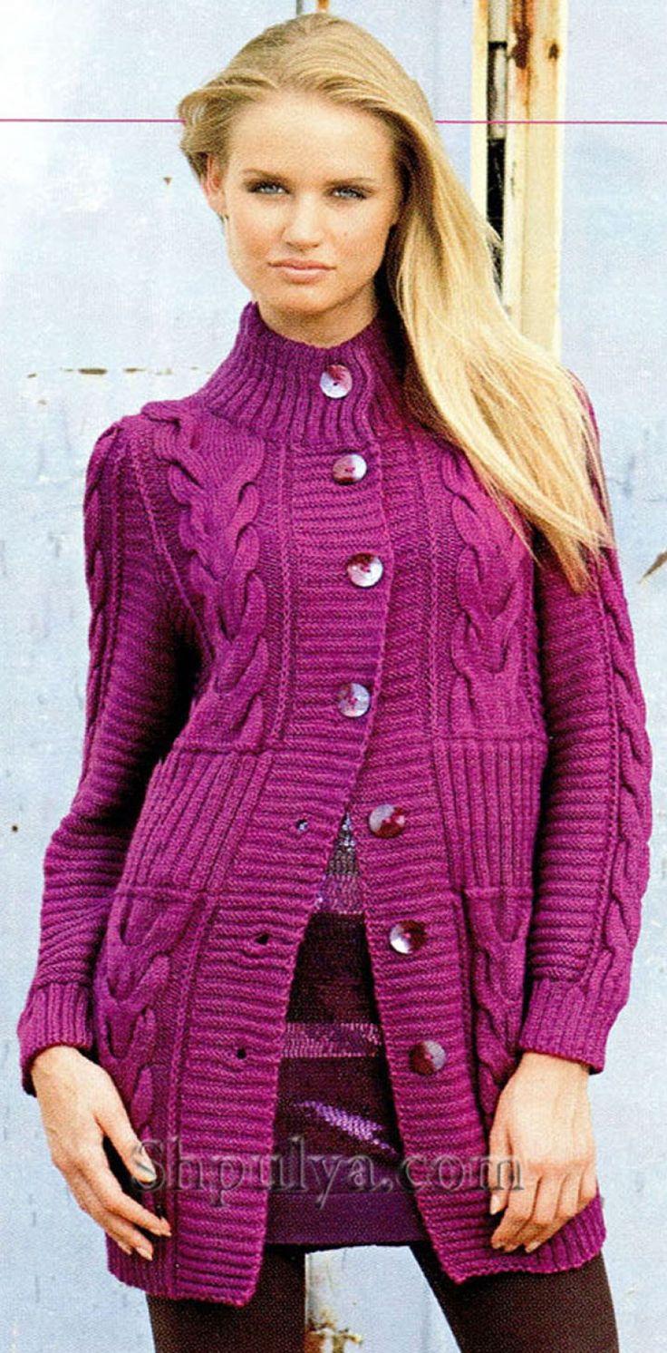 Вязаный жакет, жакет без пуговиц, вязание, вязание для женщин 32