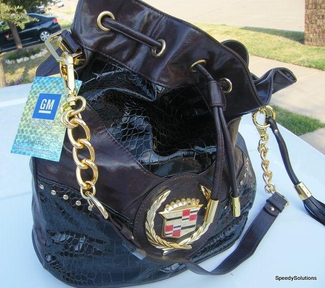 Large Black GM Cadillac Butter Soft handbag Hobo Purse Shoulder Bag