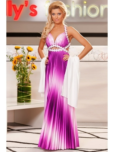 Sexy Purple Ombre Pageant Dress Two Tone Pleated Charmeuse Cross Back ...