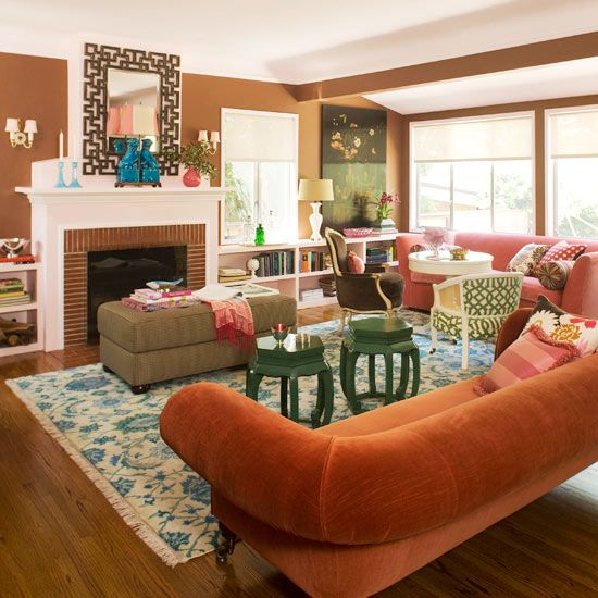 brown preppy green coral pink in this living room bold brown