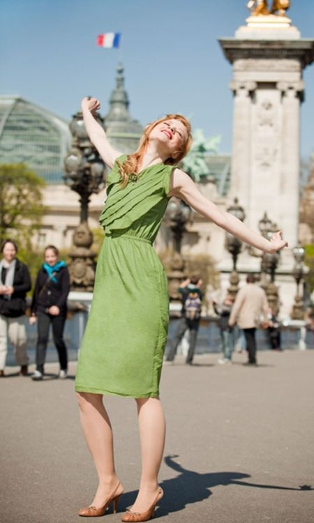 Green Cotton Lawn Ruffled Cinched Waist Dress.
