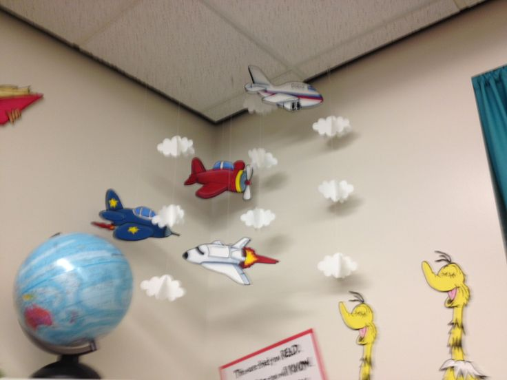 Classroom decorations airplane mobile circle time and for Airplane decoration ideas