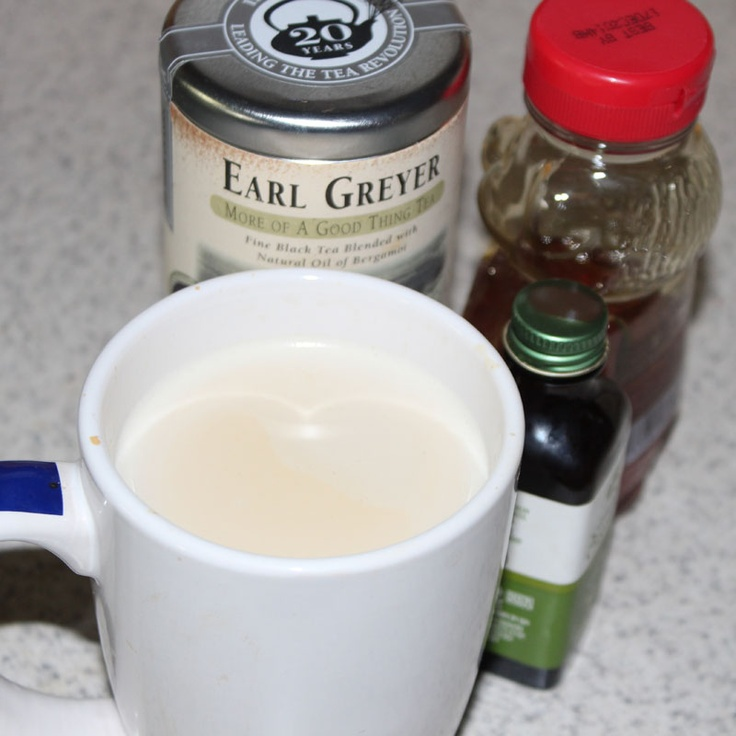 London Fog Latte - cup of warm milk, Earl Grey tea, few drops of ...