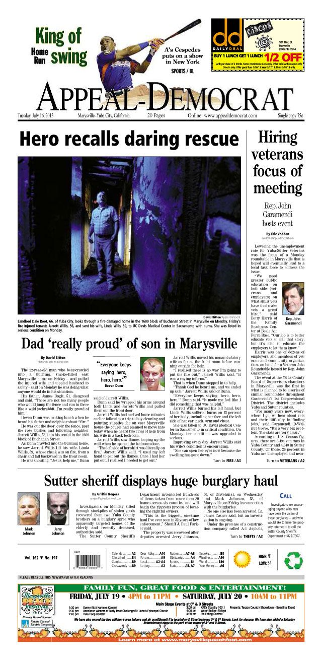 Appeal-Democrat front page for Tuesday, July 16, 2013.