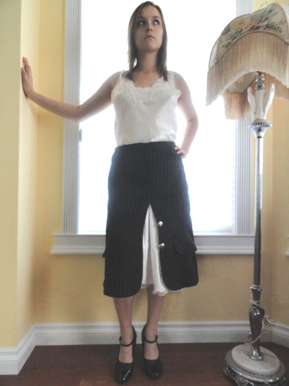 black and white pinstripe secretary skirt by madmrsrochester