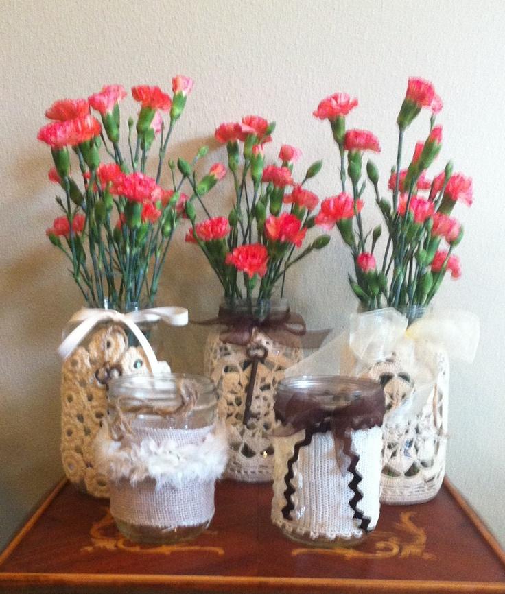 Vintage Style Ball Jars Wedding Decor Burlap by silkcreekgallery