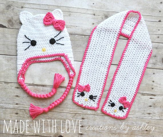Hello Kitty Baby Hat Knitting Pattern : Crochet Hello Kitty Hat and Scarf Set girl baby toddler