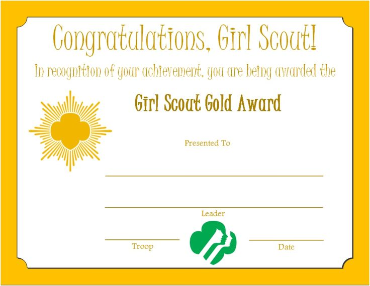 girl scout gold award certificate girl scouts pinterest