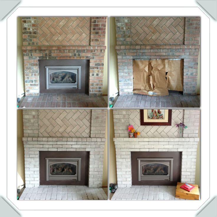 White Washed Brick Fireplace Fireplaces Pinterest