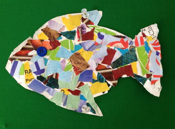 Newspaper collage fish   Florida craft ideas+beach crafts   Pinterest