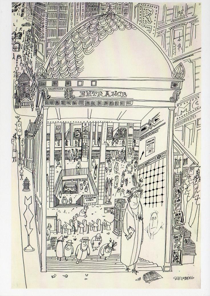 saul steinberg illustration line drawings pinterest. Black Bedroom Furniture Sets. Home Design Ideas