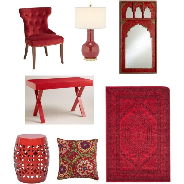"""Red Furniture and Accessories"" by blue11interiors on Polyvore"