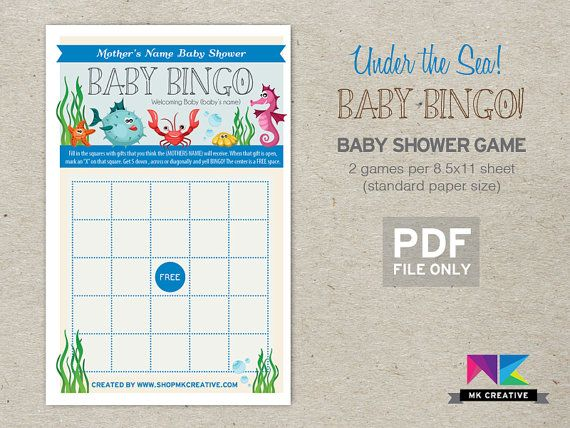 shower game baby bingo under the sea theme fun beautiful cheap