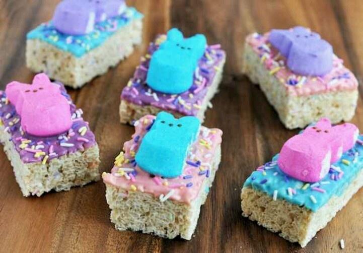 Rice Krispy treats...easter peep | ~*Easter*~ | Pinterest
