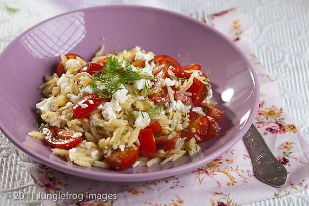 Orzo with feta, tomatoes and dill-super easy, fast, and healthy!