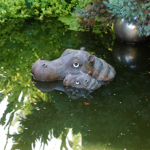 Detailed floating resin hippo head garden pond feature for Garden pond ornaments