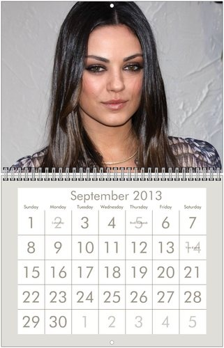 MILA KUNIS 2013 Wall Calendar