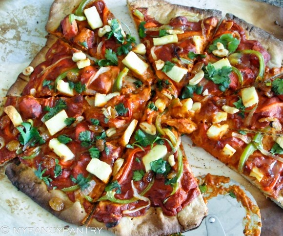 chicken tikka masala pizza :D they need to put this on the menu at ...