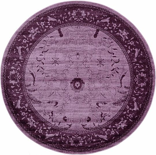 Purple 8u0026#39; 0 x 8u0026#39; 0 Tri-Color Round Rug