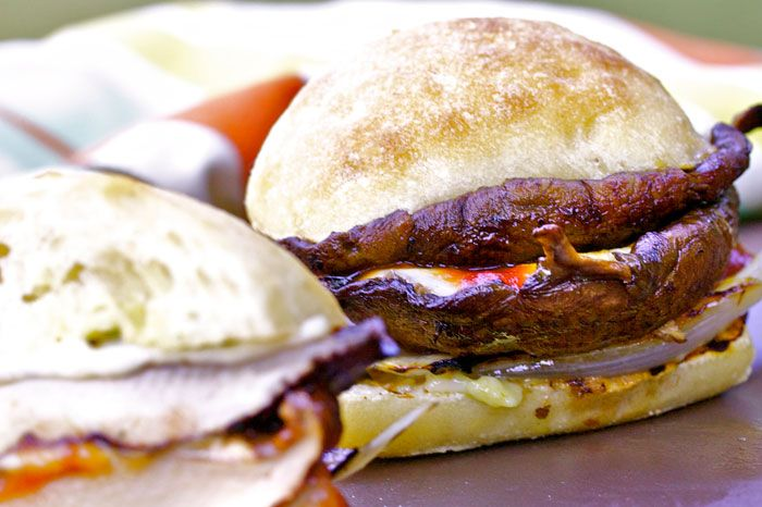 Double-Portobello Burgers With Roasted Tomatoes Recipes — Dishmaps