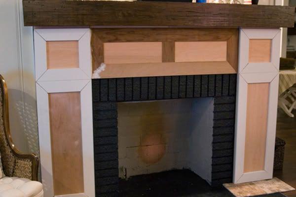 DIY Brick Fireplace Mantel 600 x 400