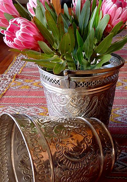 Vintage Hammam Buckets - used here as cover pots for plants, but would make cute ice buckets for parties