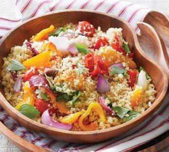 Roasted vegetable quinoa salad (onion, capsicum, cheery tomatoes ...