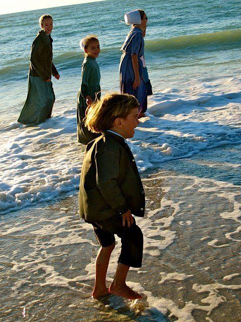 Amish Kids Enjoying the Ocean